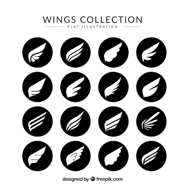 Pack of white wings in black circles Free Vector