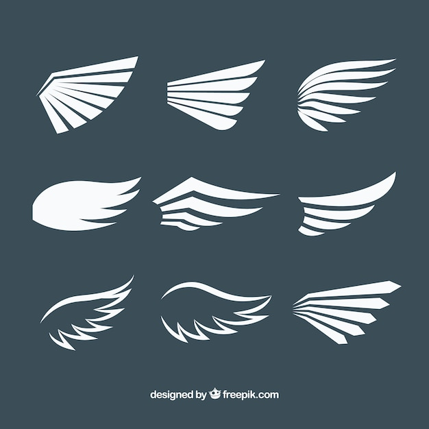 Pack of white wings in flat design Free Vector