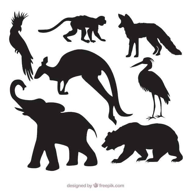 Pack of wild animal silhouettes Free Vector