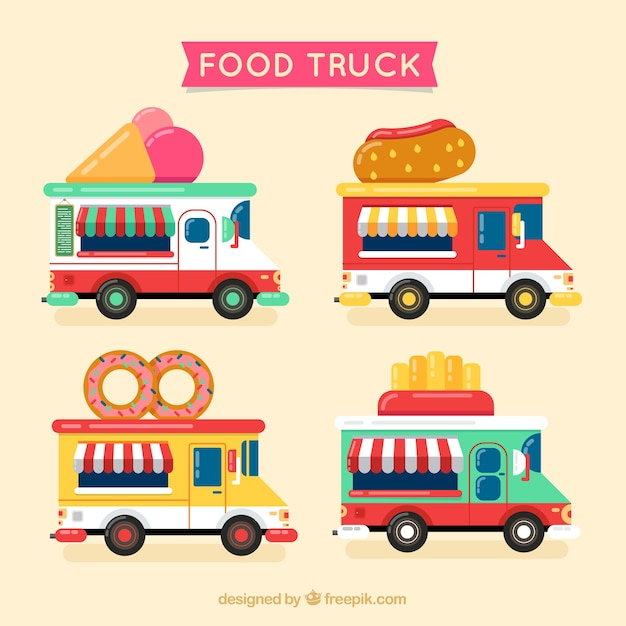 Pack With Cartoon Food Trucks Free Vector