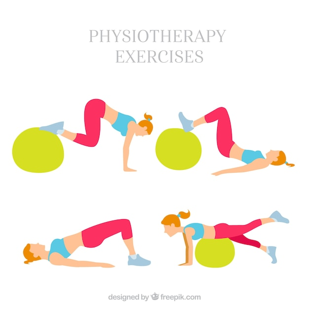 Pack of woman doing rehabilitation with a ball Free Vector