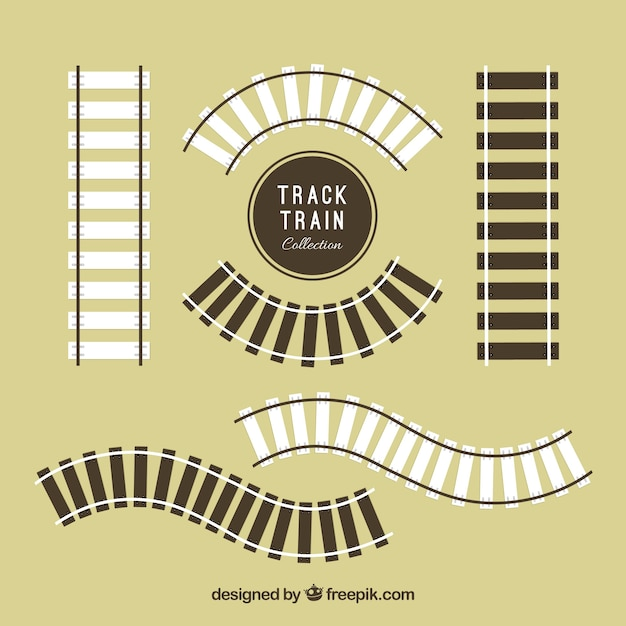 Pack of wooden railroad tracks in flat design Free Vector