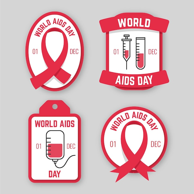 Pack of world aids day badges Free Vector
