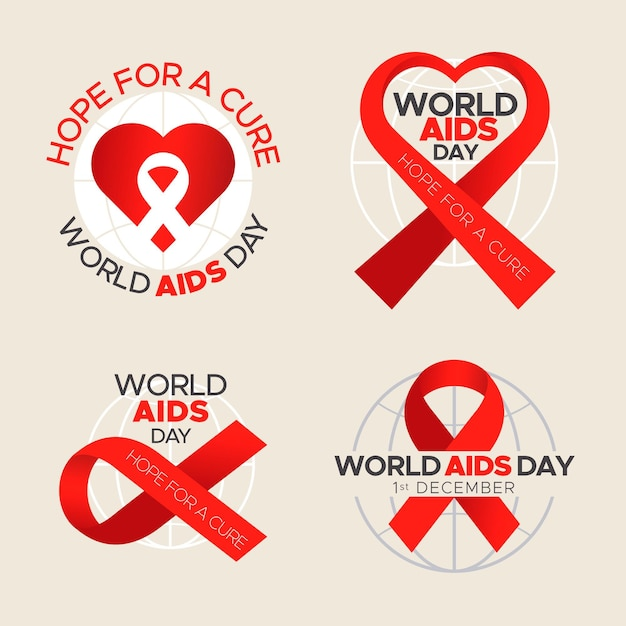 Pack of world aids day labels Free Vector
