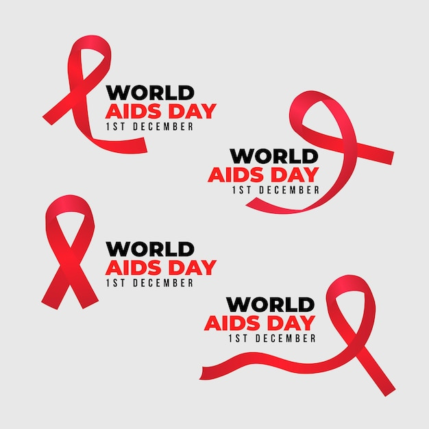 Pack of world aids day ribbons badges Premium Vector