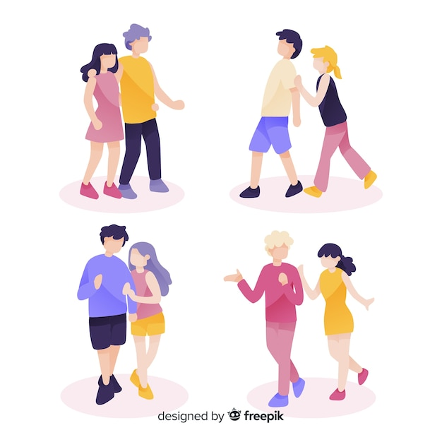 Pack of young couples walking Free Vector