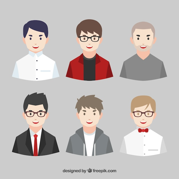 Pack of young men avatars Free Vector