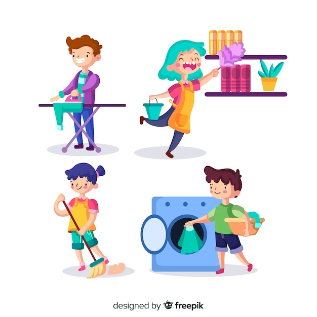 Pack of young people cleaning the house Free Vector