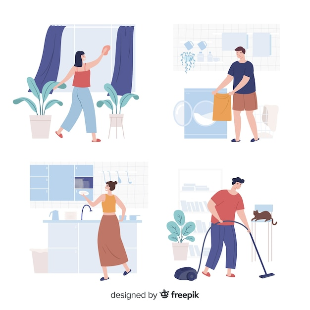 Pack of young people doing housework Free Vector