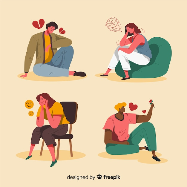 Pack of young people emotions Free Vector