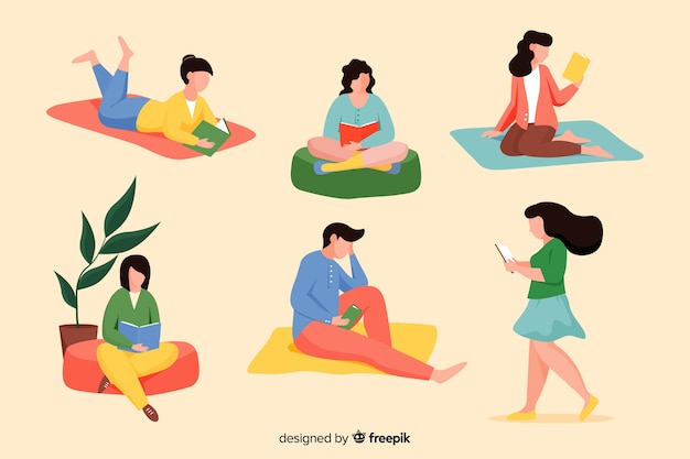Pack of young people reading books Free Vector