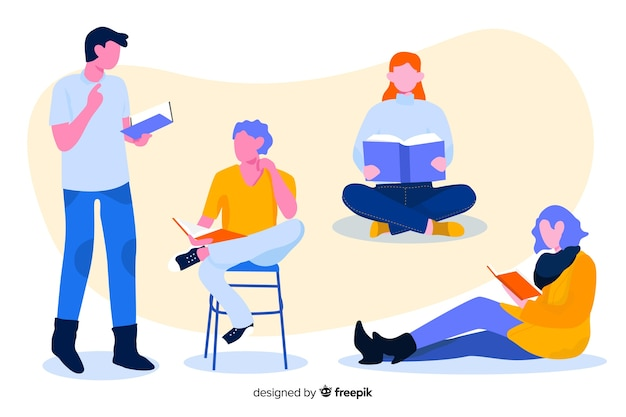 Pack of young people reading Free Vector