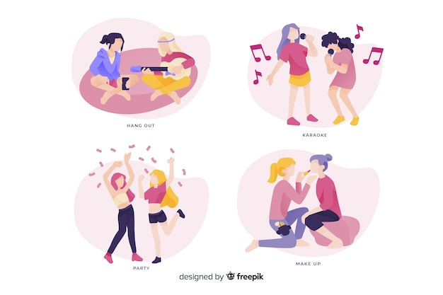 Pack of young women spending time together Free Vector