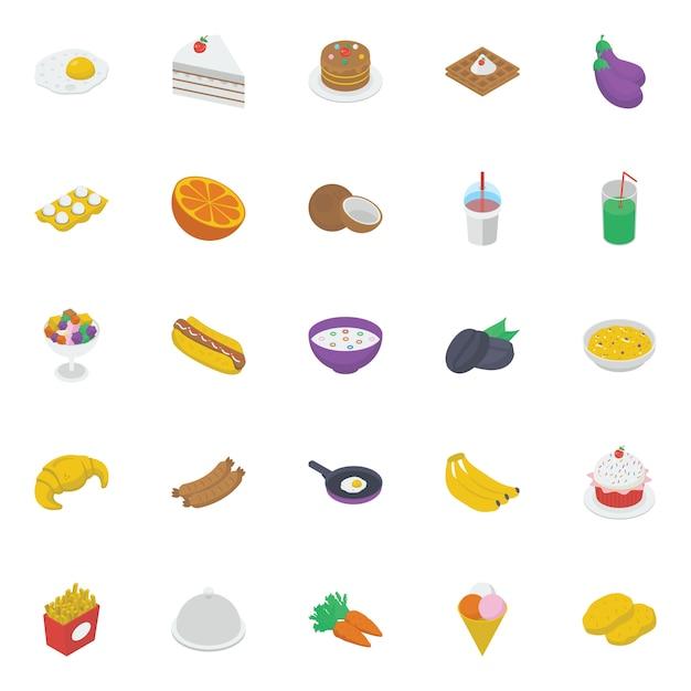 Еда и напитки изометрические иконы pack Premium векторы