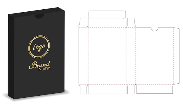 Package box die cut with 3d mock up Premium Vector