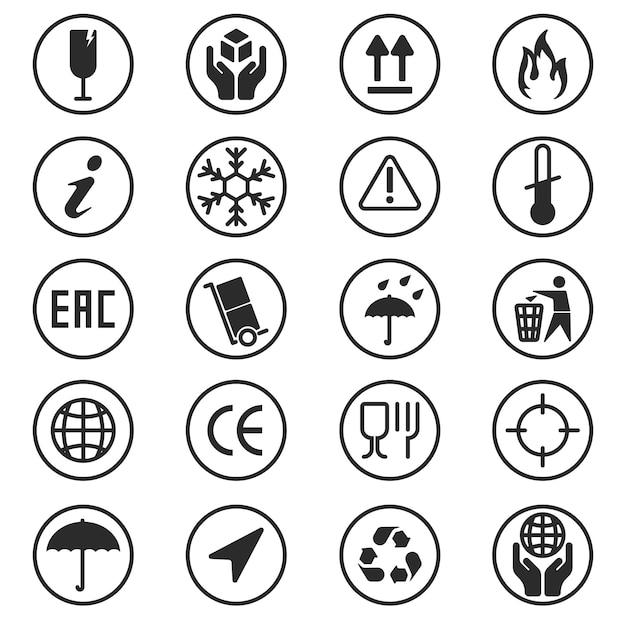 Set di simboli della confezione Vettore gratuito