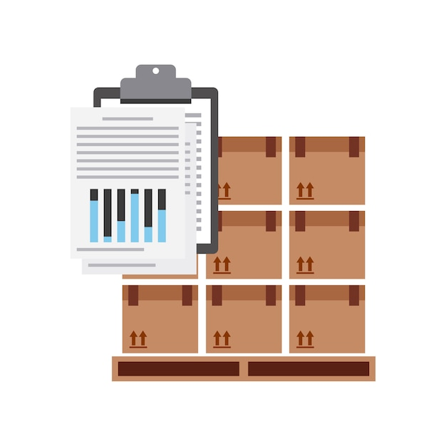 Package and check list icon. Premium Vector