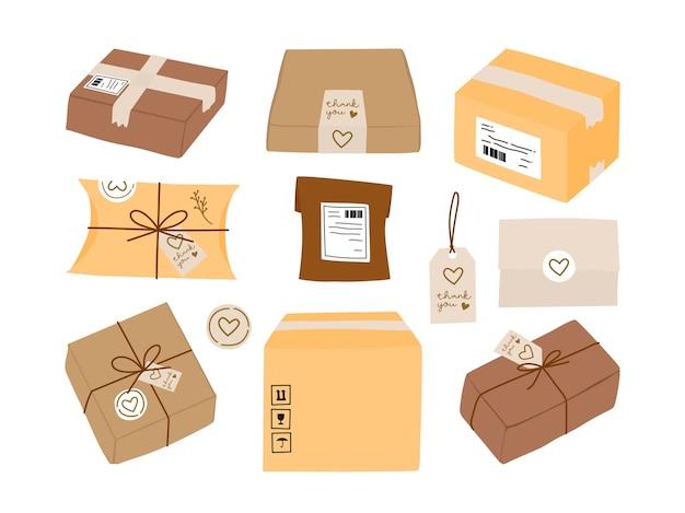 宅配ボックスと環境にやさしいギフト包装、ラベルステッカーとサンキューカードコレクション。 Premiumベクター