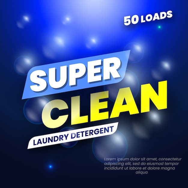 Package  for laundry detergent. template label for washing powder.  illustration. Premium Vector