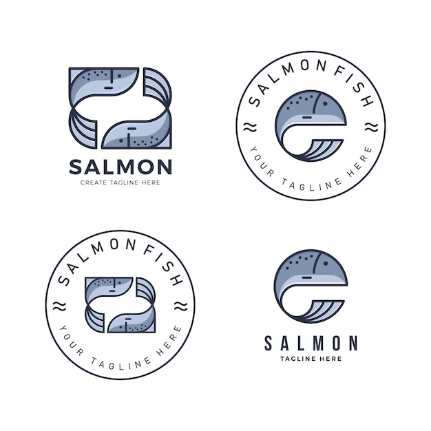 A package of salmon logo with a simple and modern flat style Premium Vector