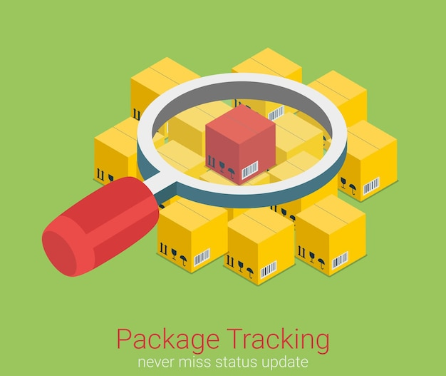 Package status place tracking flat isometric Free Vector