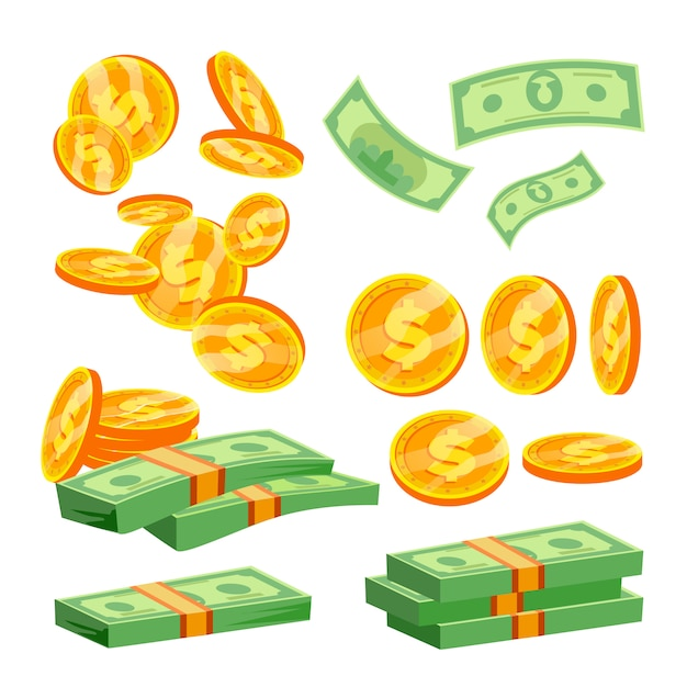Packages of banknotes Premium Vector