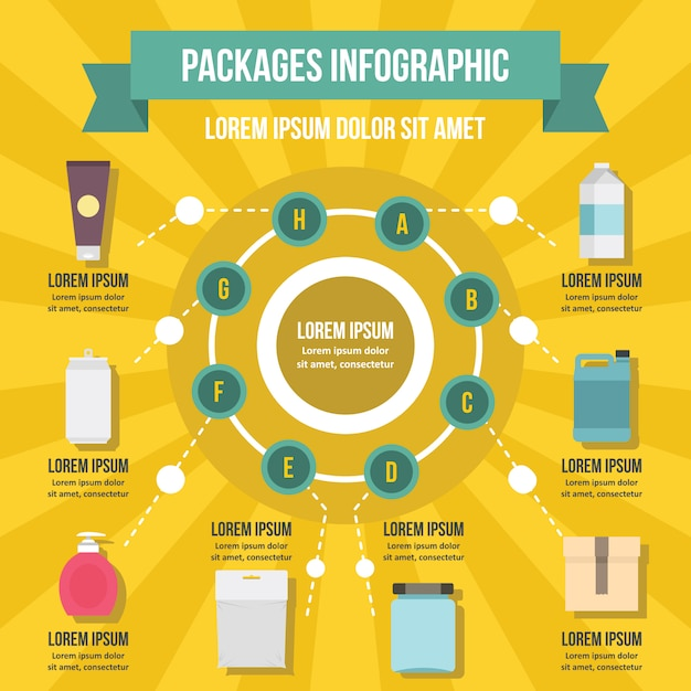 Packages infographic banner concept. Premium Vector