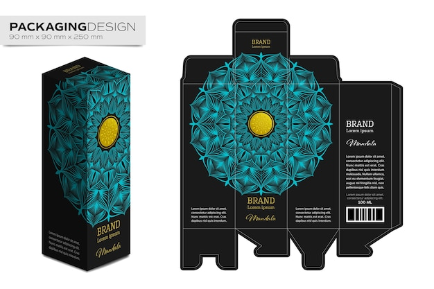 Packaging box design template layout with mandala Premium Vector