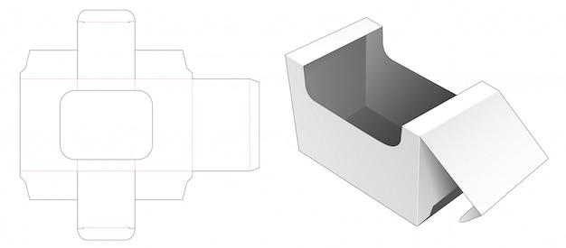 디스플레이 창 다이 컷 템플릿 포장 상자 프리미엄 벡터