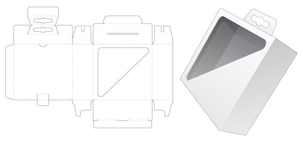 三角形のディスプレイウィンドウとハングホールダイカットテンプレートが付いた梱包箱 Premiumベクター