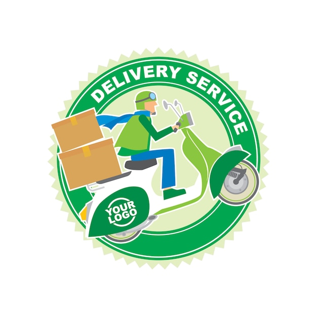 Packaging delivery service logo design template Premium Vector