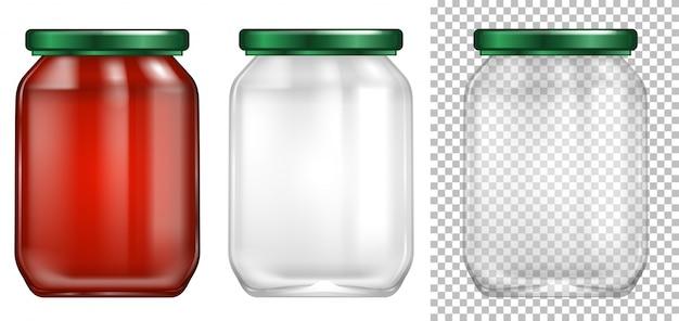 Packaging design for glass jar Premium Vector