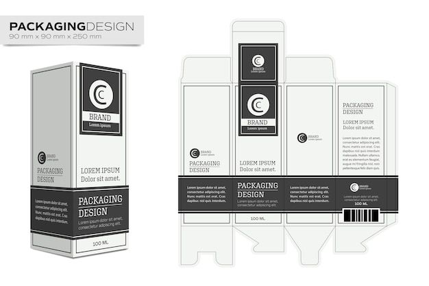Packaging Design Template Box Layout For Cosmetic Product