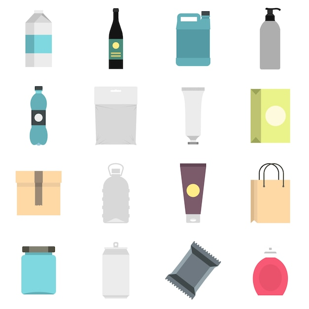 Packaging items set flat icons Premium Vector