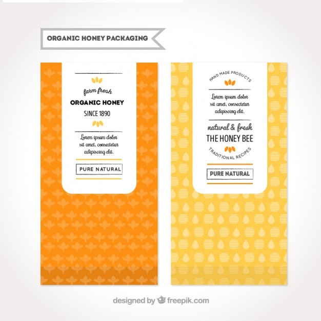 Packaging For Organic Honey Vector Free Download