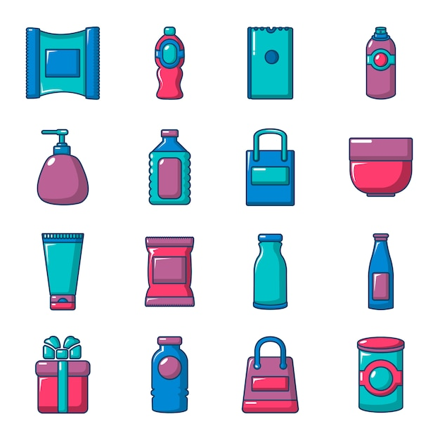 Packaging store shop icons set Premium Vector