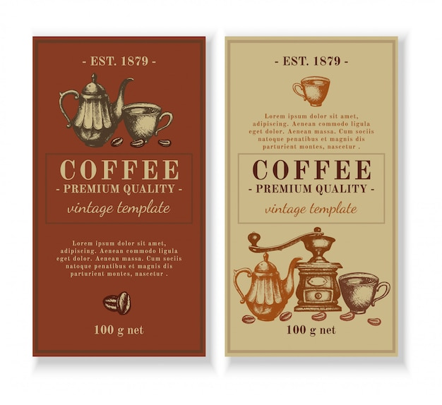 コーヒーラベルの包装テンプレートデザイン Premiumベクター