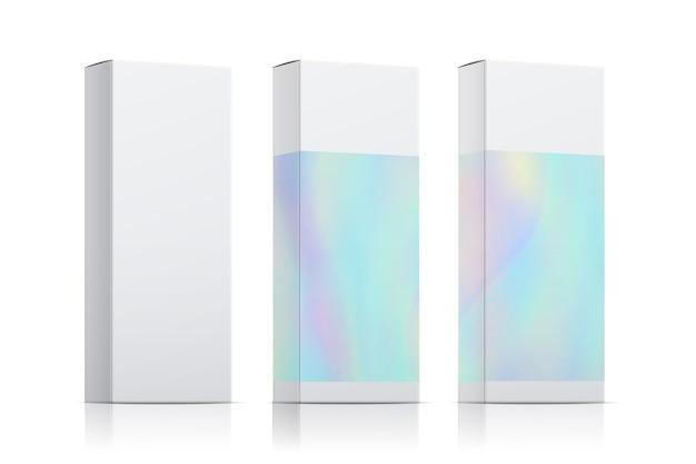 Векторный набор шаблонов упаковки с голографическим эффектом. реалистичная упаковка коробки, изолированные на белом фоне Premium векторы