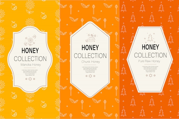 Packaging template with patterns. natural honey collection. Premium Vector