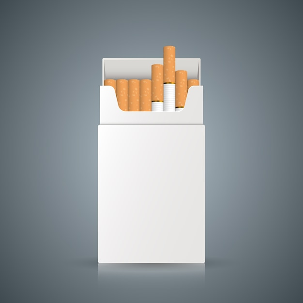Packing of cigarettes on the grey background. Premium Vector