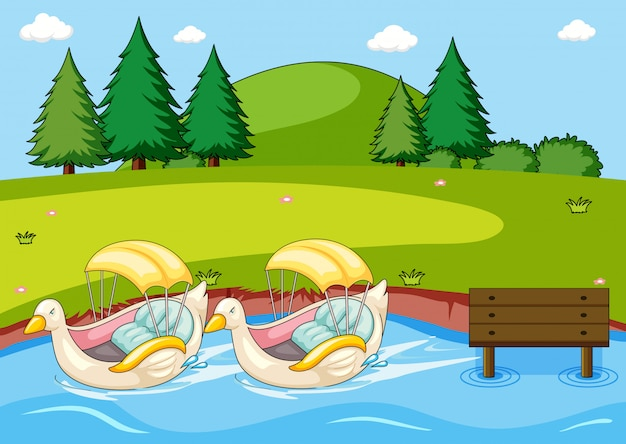 Paddle duck boat in the park Free Vector