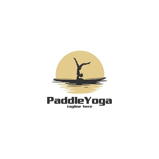Paddle yoga silhouette logo illustration Premium Vector