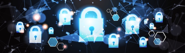 Padlock data protection privacy concept Premium Vector