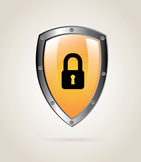 Padlock shield Premium Vector
