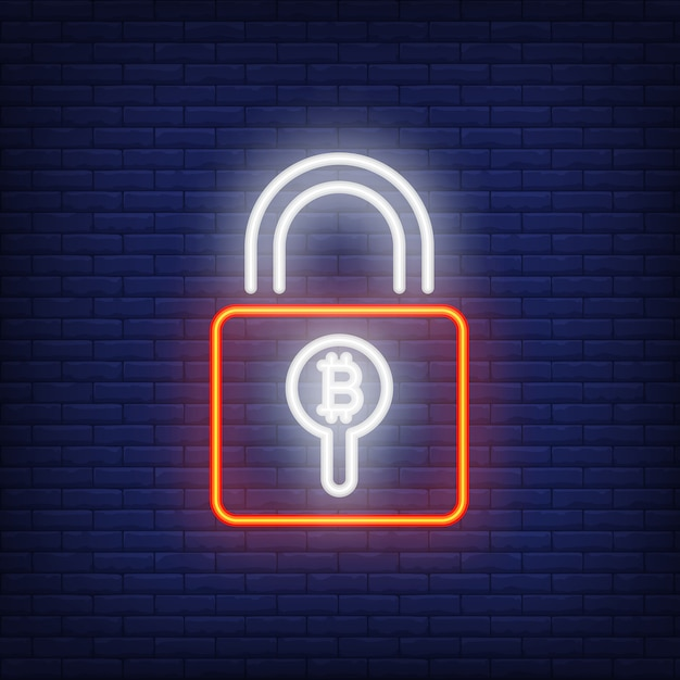 Padlock with bitcoin neon sign. red padlock with bitcoin symbol inside of hole. Free Vector