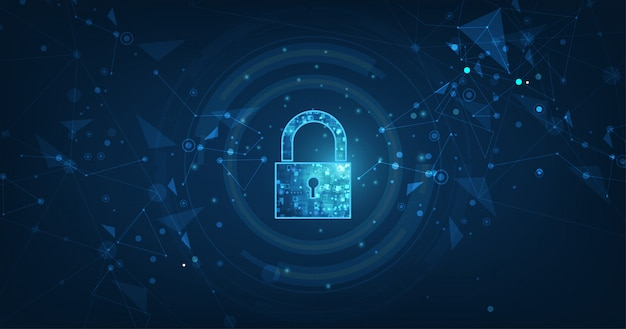 Padlock with keyhole blue background Premium Vector