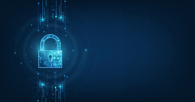 Padlock with keyhole. personal data security illustrates cyber data or information privacy idea. blue color abstract hi speed internet technology. Premium Vector