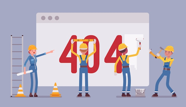 Page 404 under construction Premium Vector