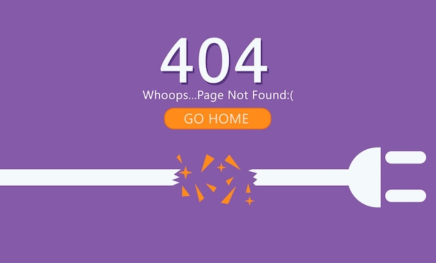 Page 404 not found. wire with socket. Free Vector