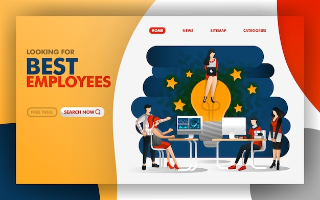 Page of best employees bring new ideas to inspire Premium Vector